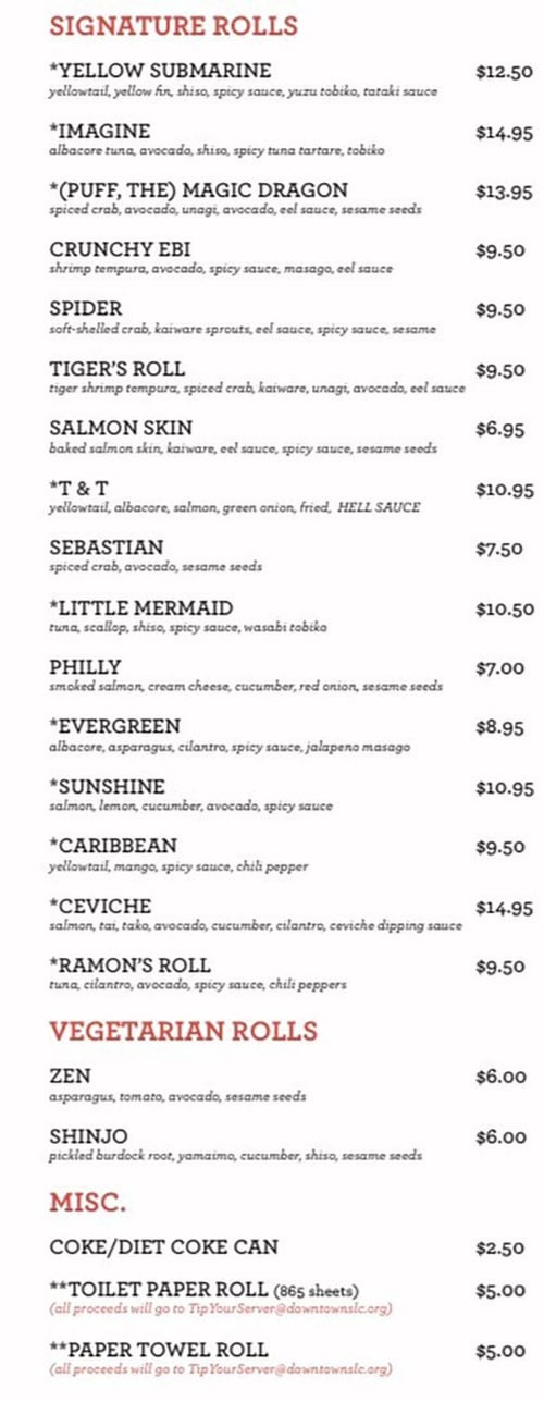 Takashi curbside menu - page two