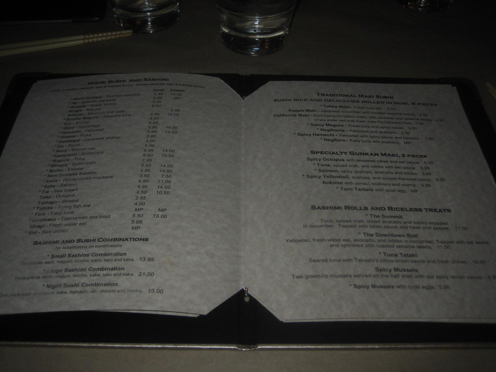 Takashi Restaurant Salt Lake City Menu