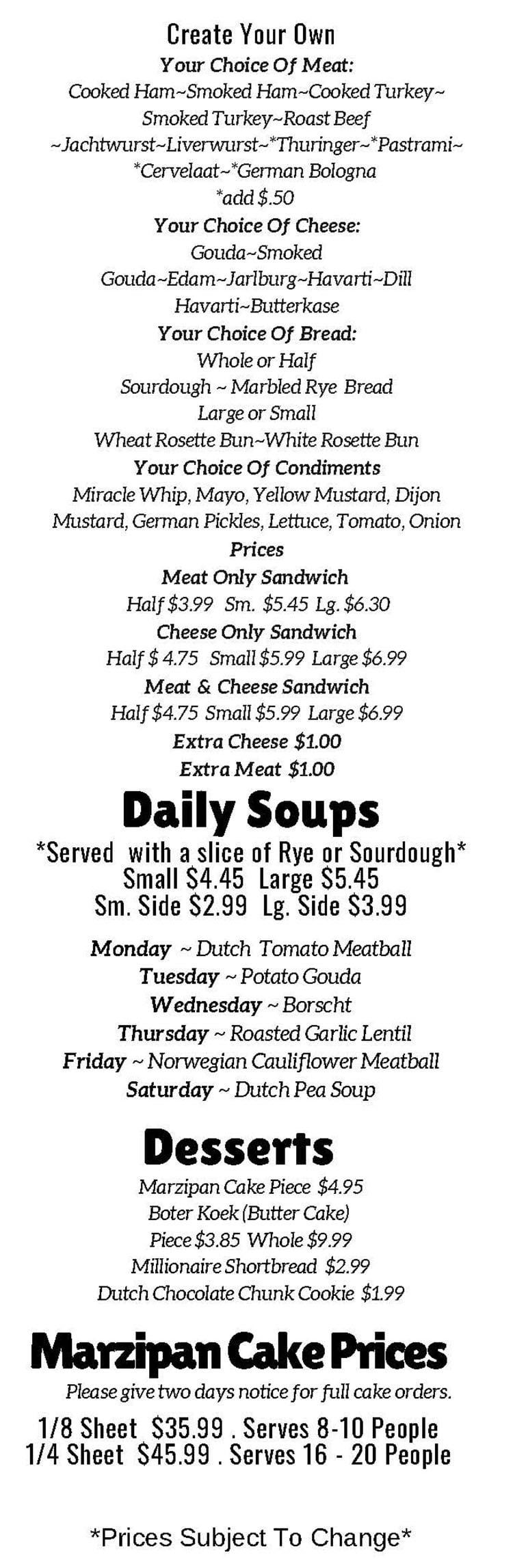 The Old Dutch Store menu - curbside lunch menu continued