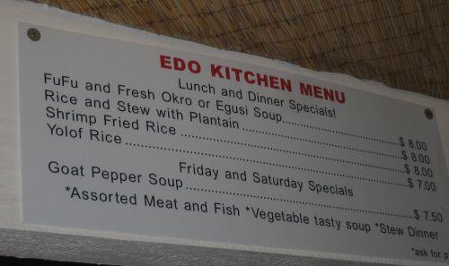 Edo kitchen west african cuisine menu for W kitchen verbier menu