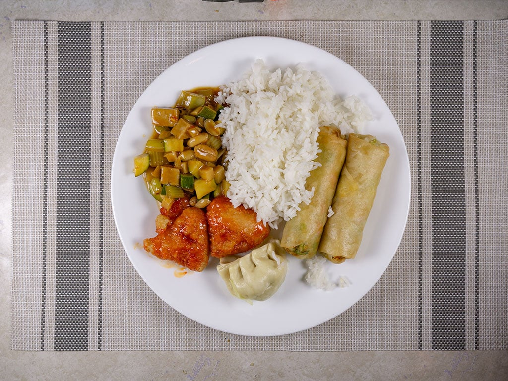 Long Life Vegi House - vegi kung pao, spring rolls, pot sticker and lemon chicken