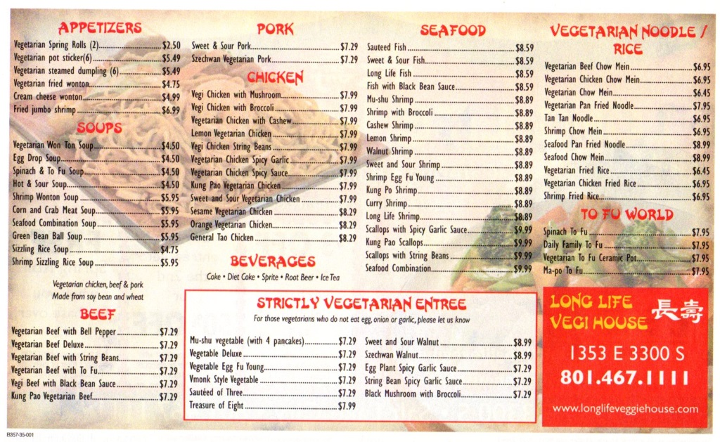 long life vegi house menu 2014