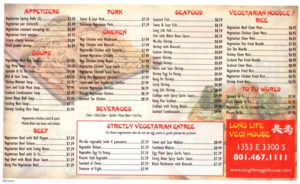 long life vegi house menu 2014