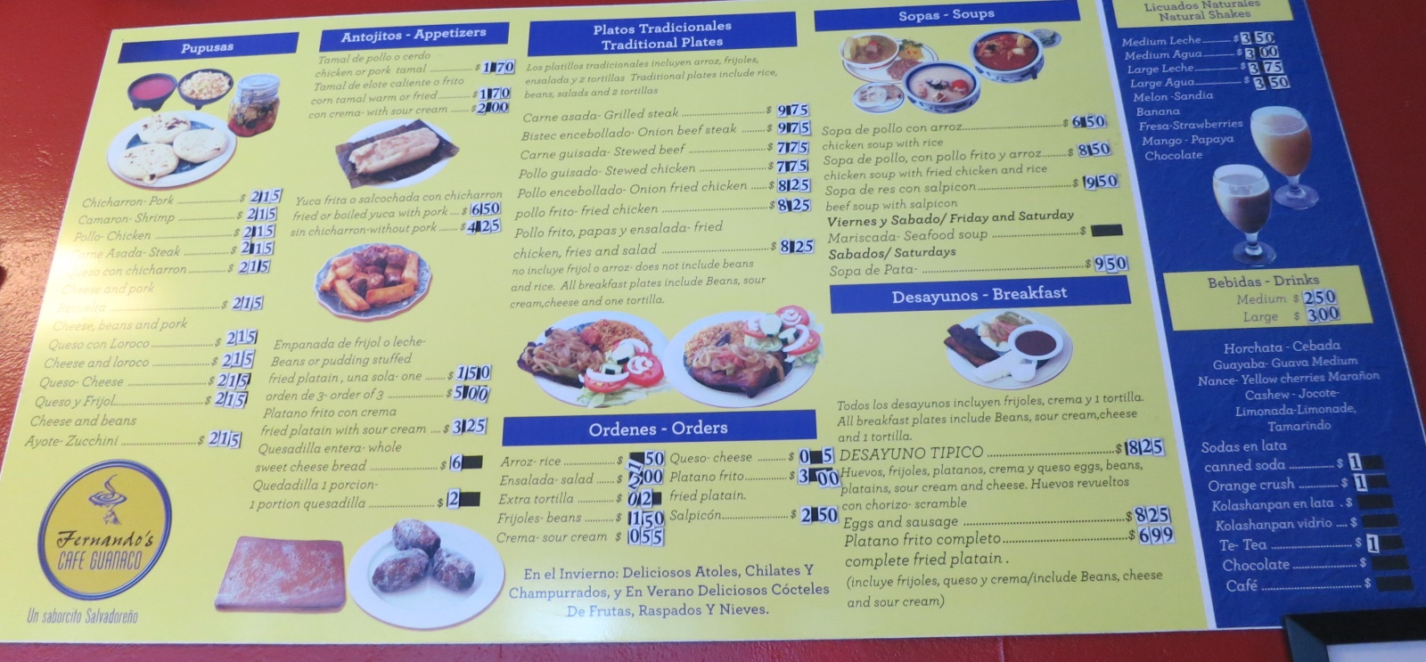 cafe guanaco menu