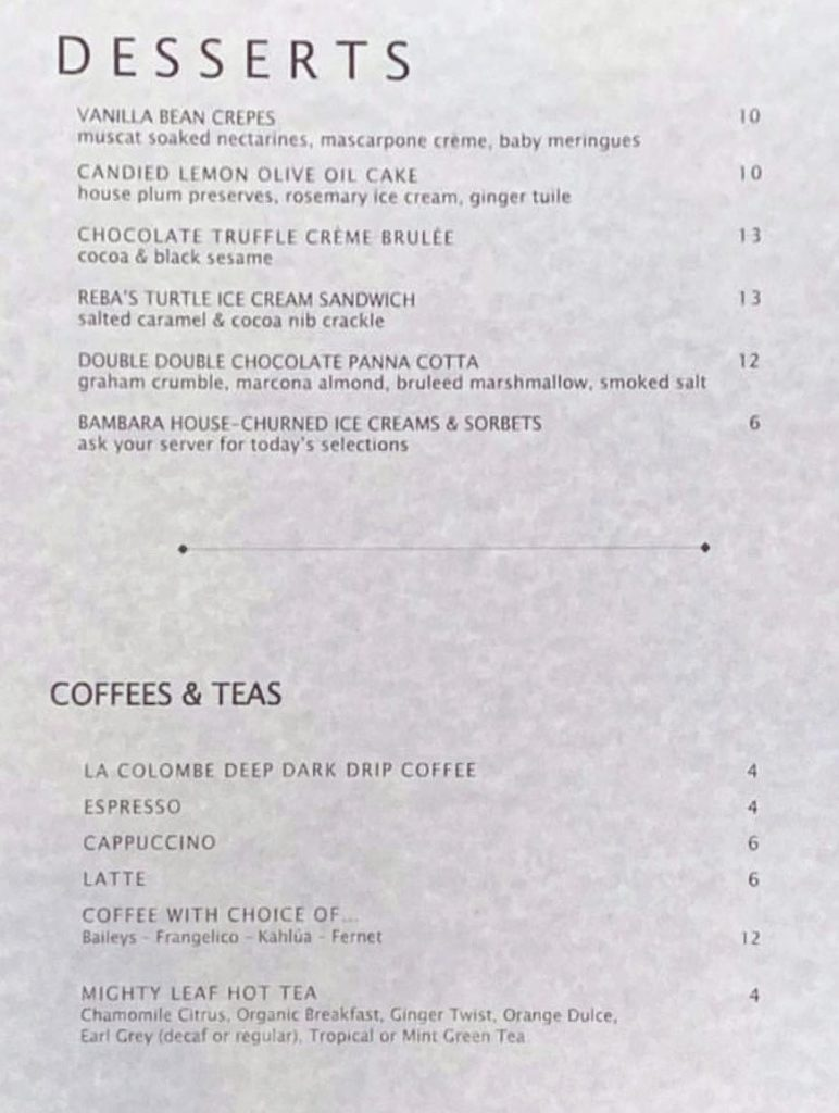 Bambara menu - desserts, coffee, tea
