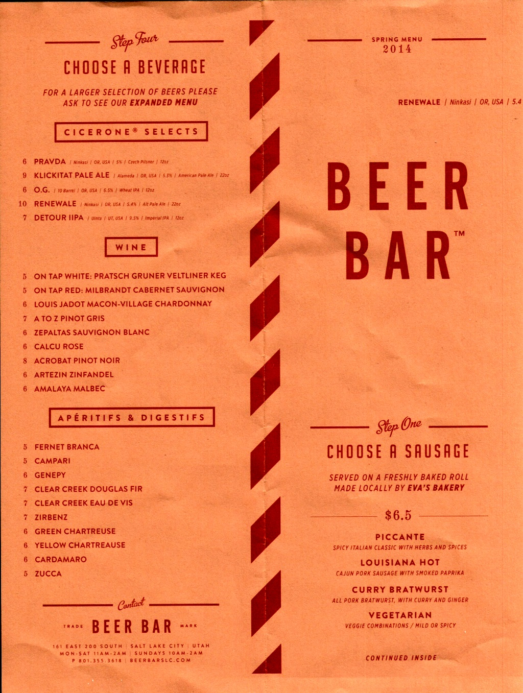 Beer Bar menu 1