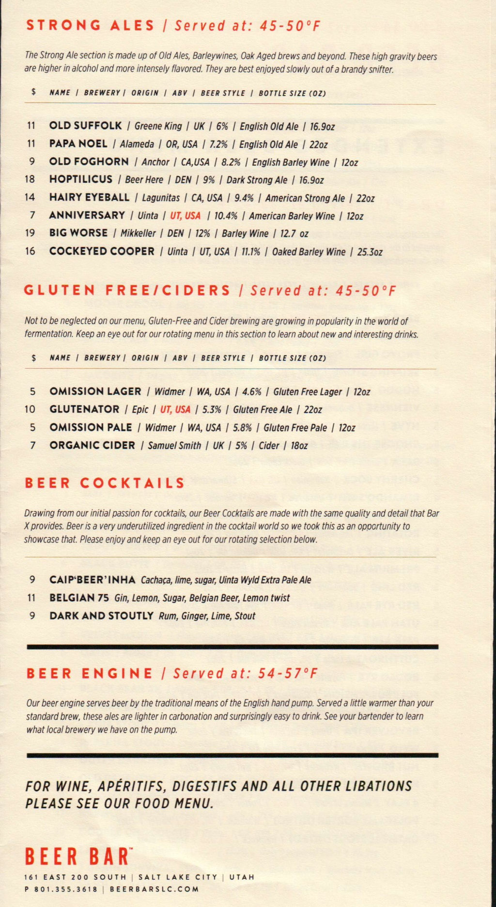 Beer Bar menu 8