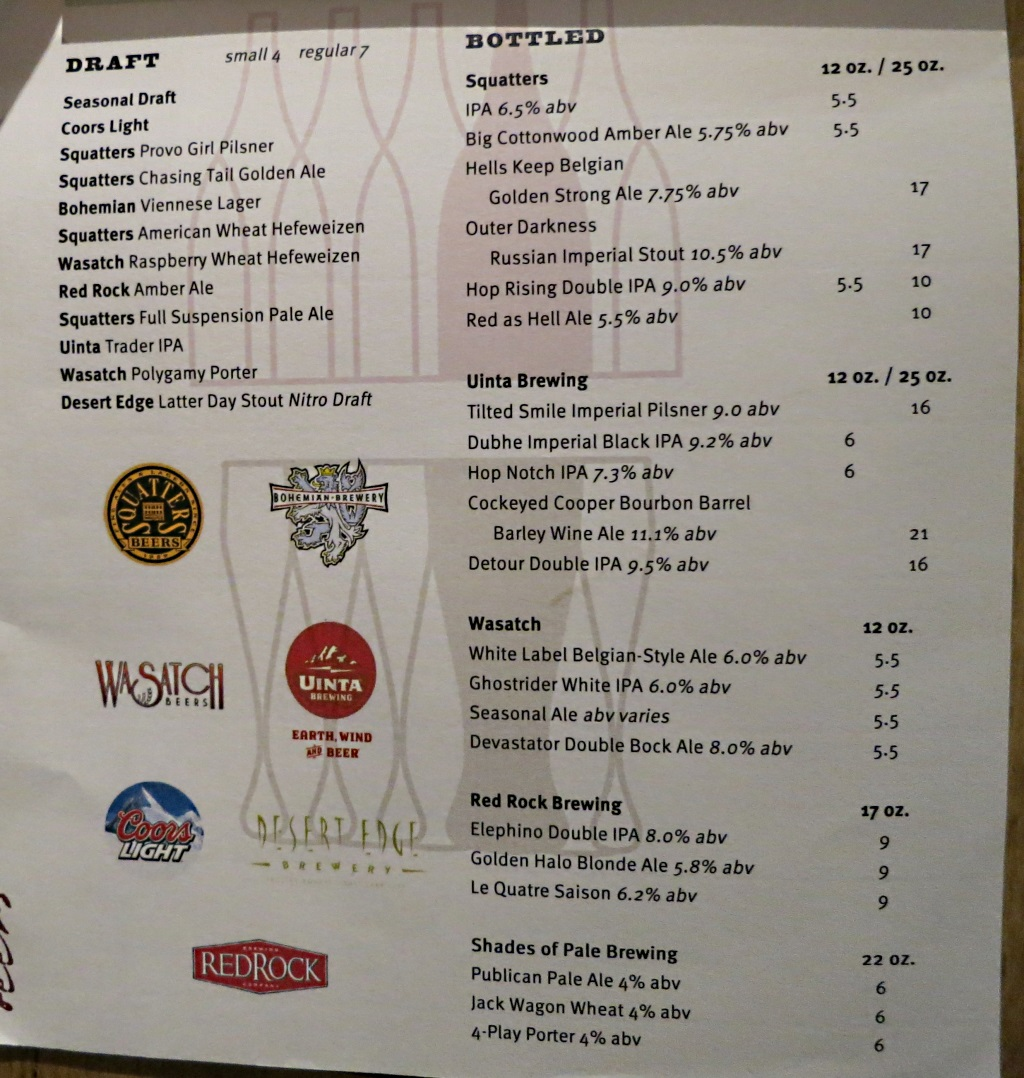 vino volo ale house slc airport beer menu