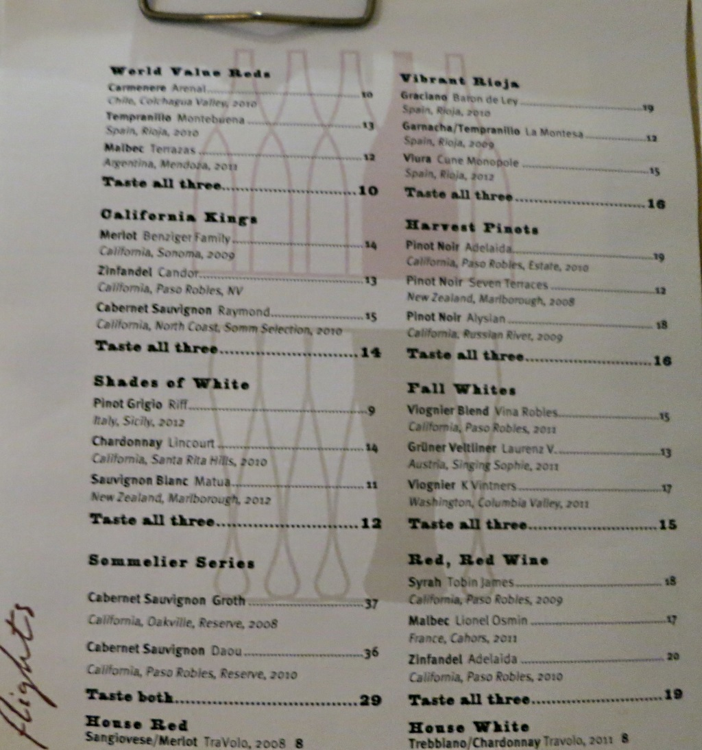 vino volo ale house slc airport wine menu