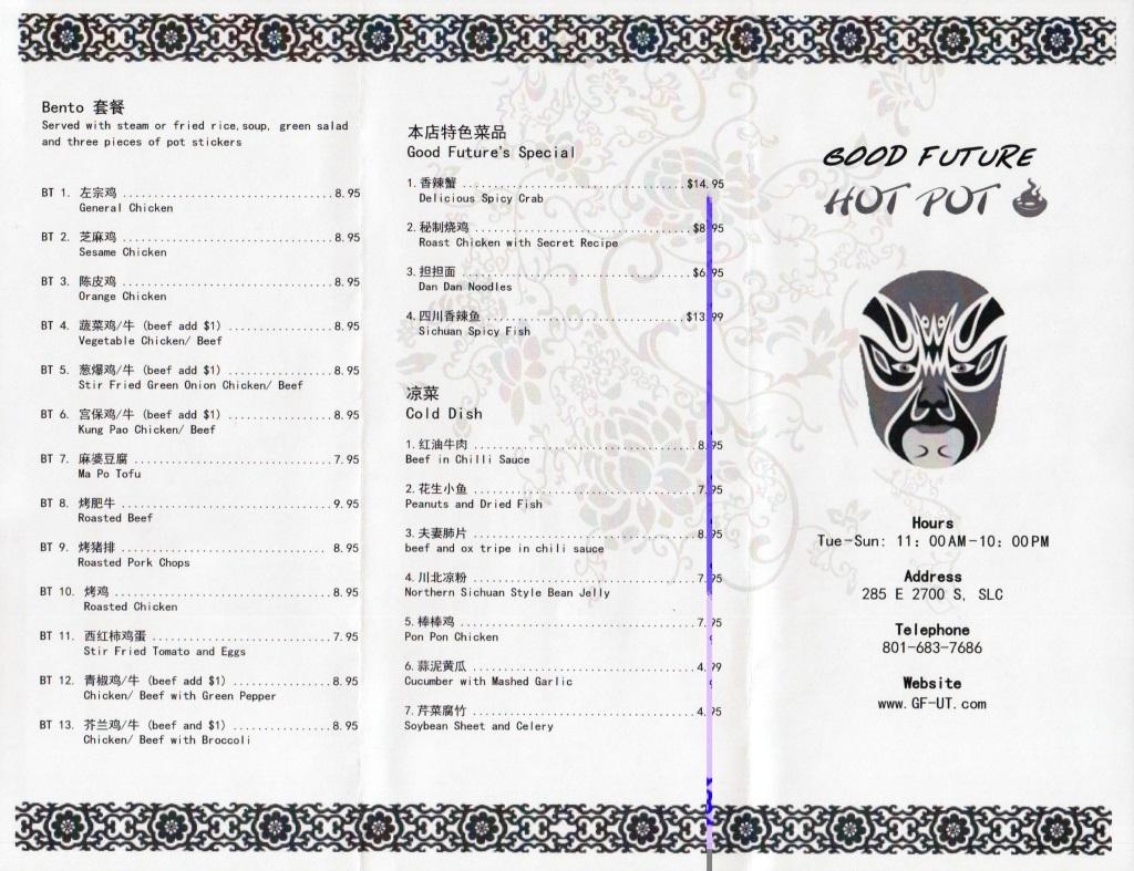 good future hot pot menu two
