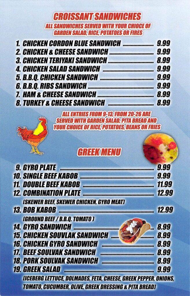 Best Chicken menu - croissant sandwiches, Greek menu