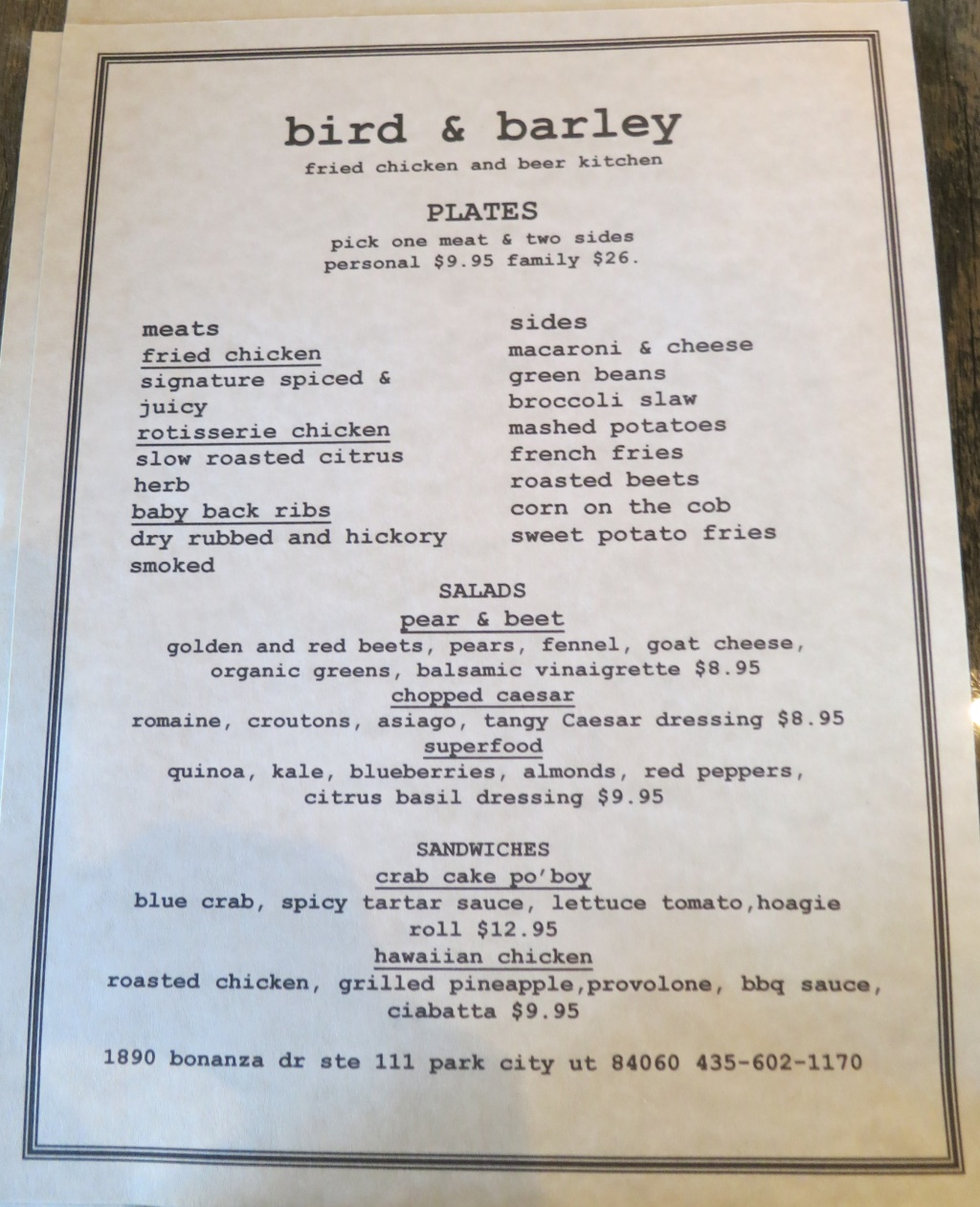 bird and barley menu park city
