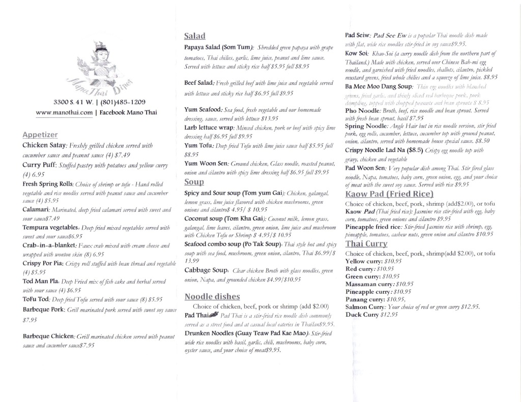 mano thai slc menu one