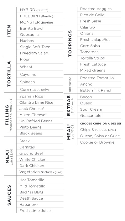 freebirds world burrito sugarhouse menu three