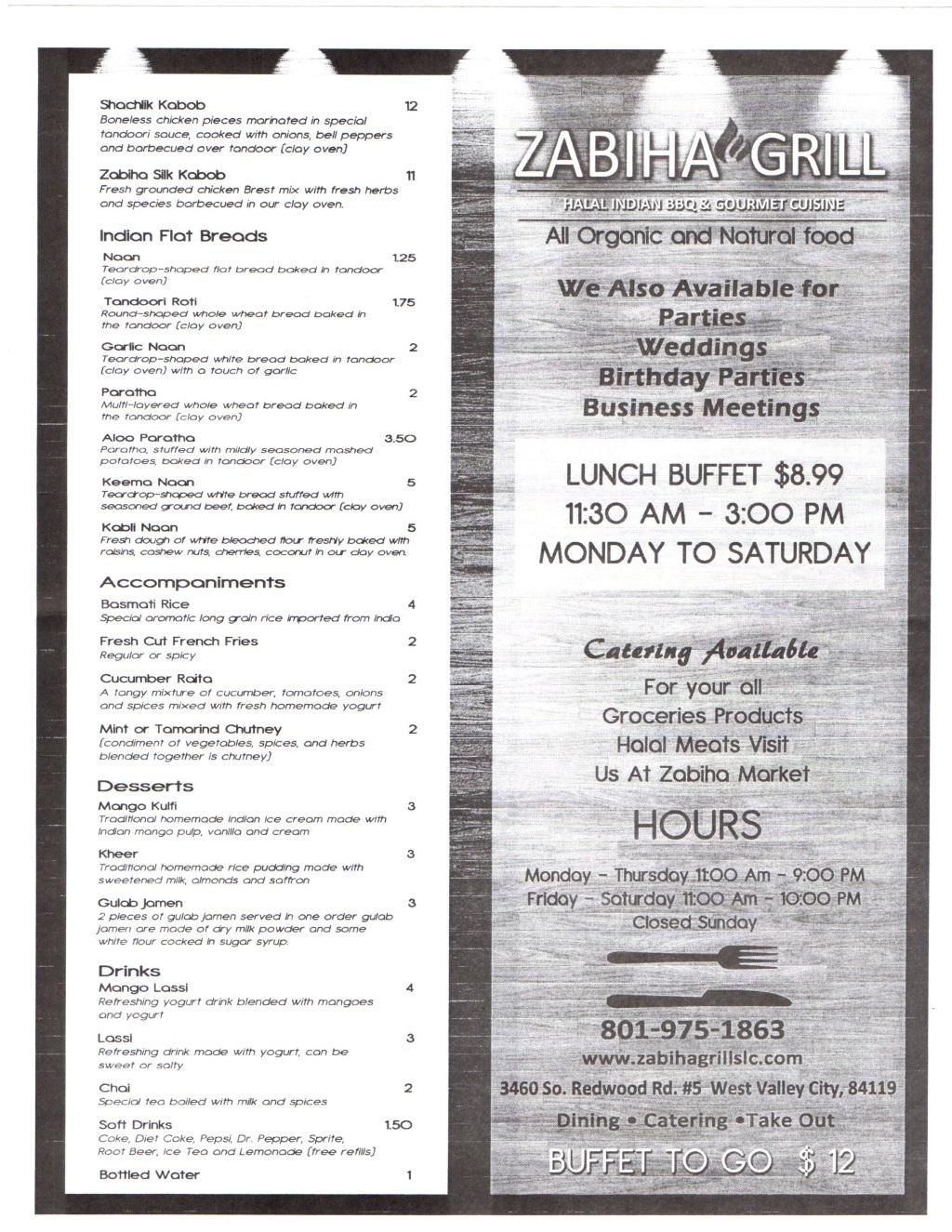 zabiha grill menu february 2015 page two