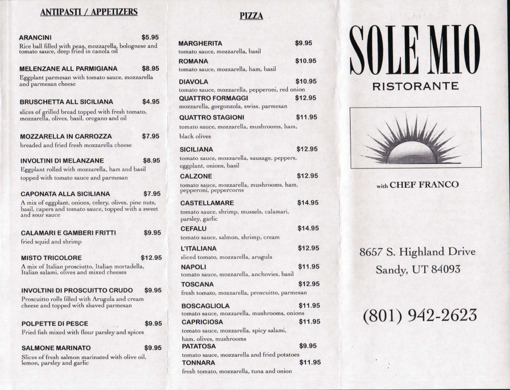 sole mio restaurant menu one
