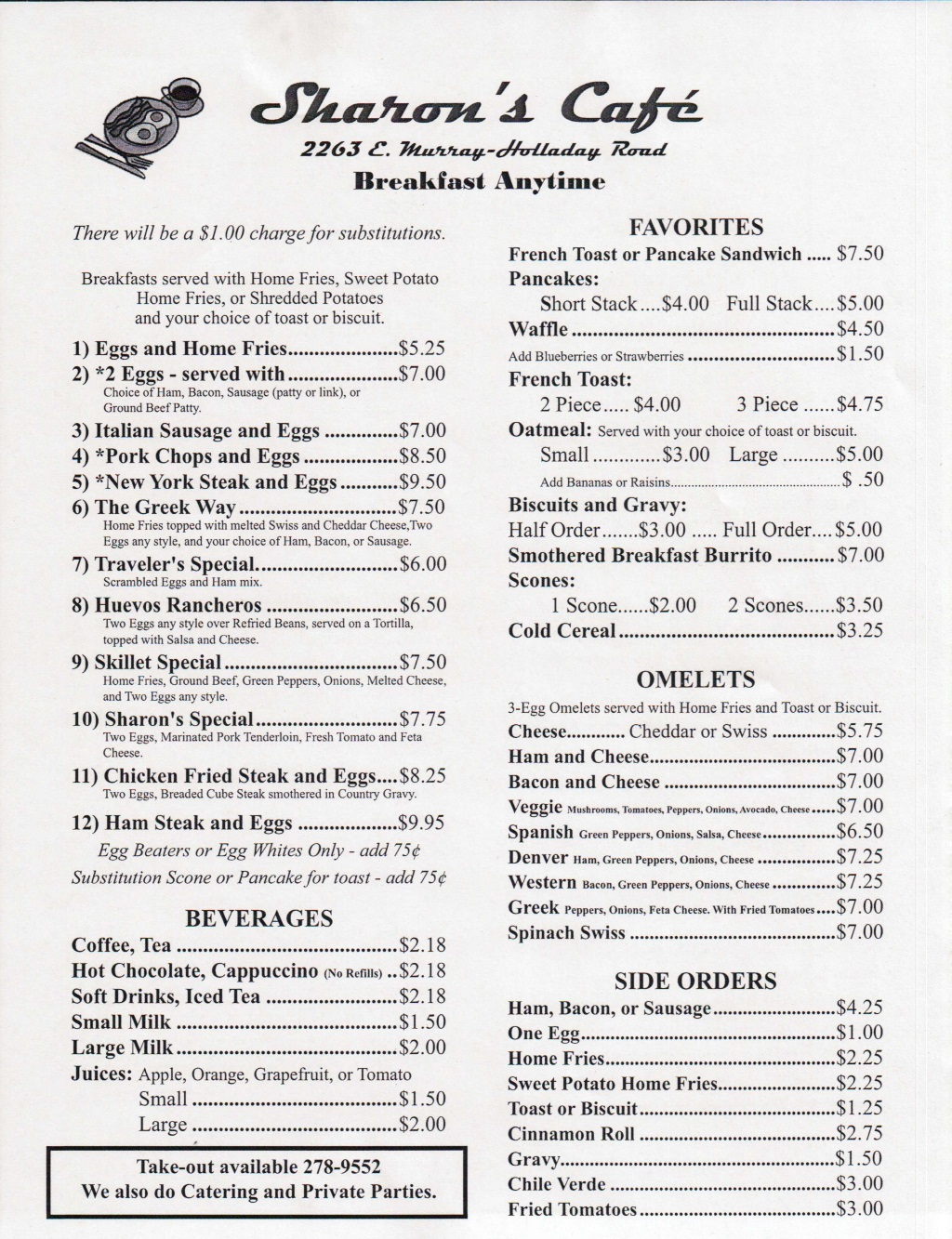 Sharons Cafe Menu 1