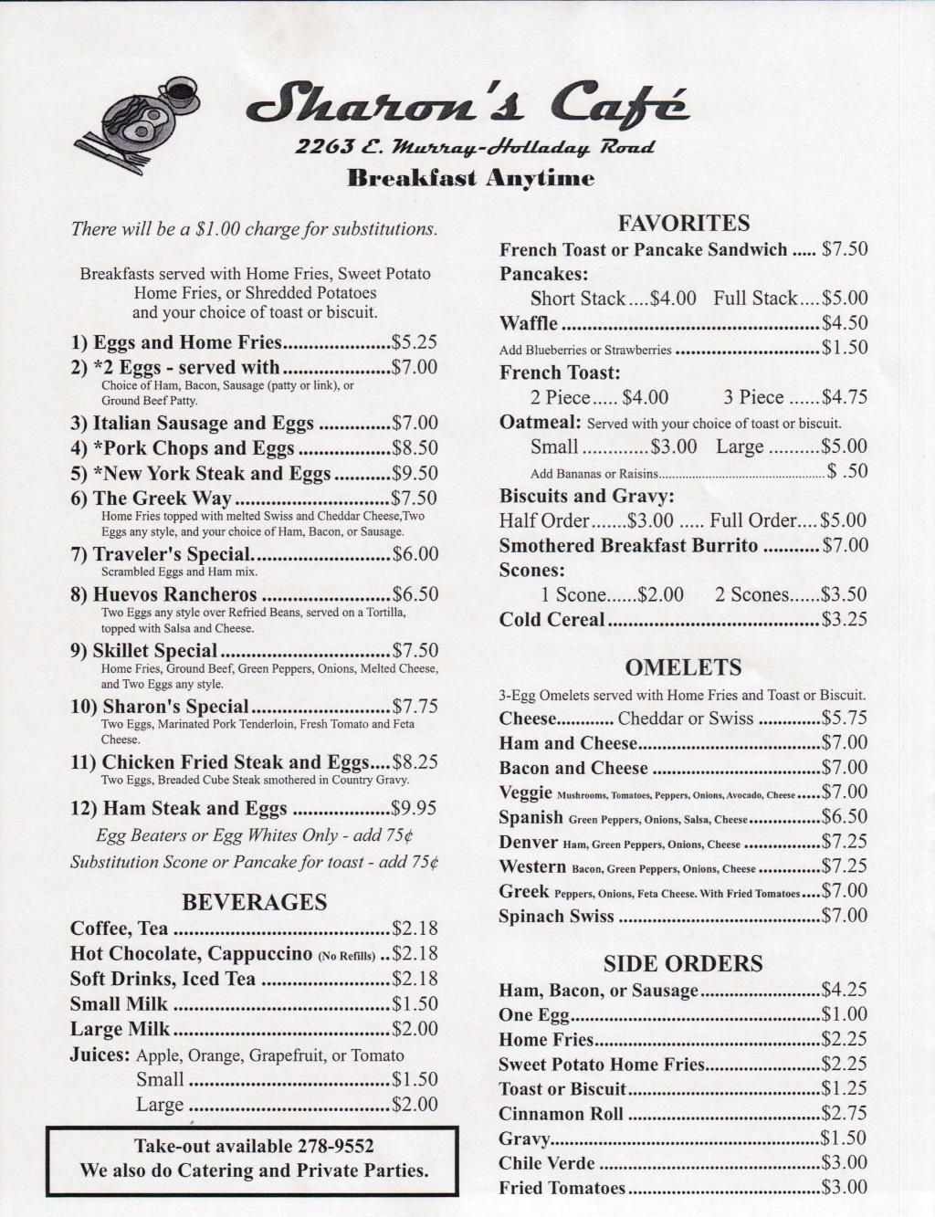 Lake Murray Cafe Menu