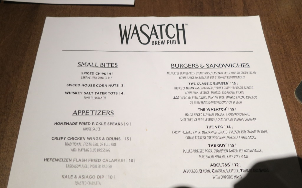 wasatch brew pub in sugarhouse menu one