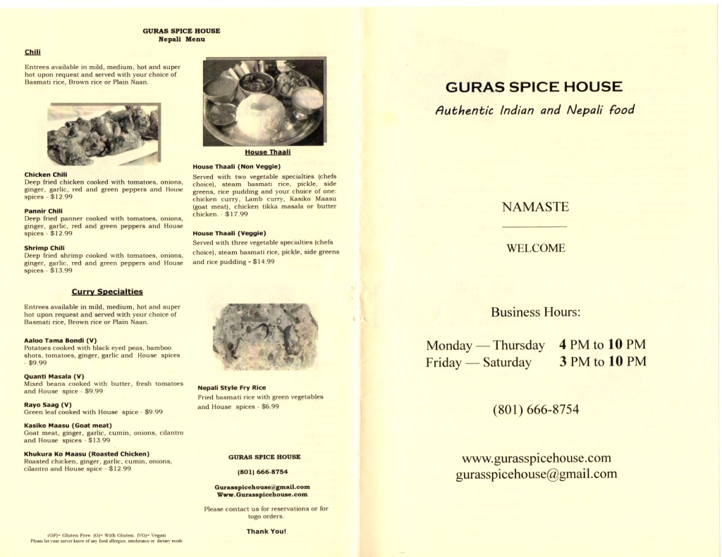 guras spice house menu page four