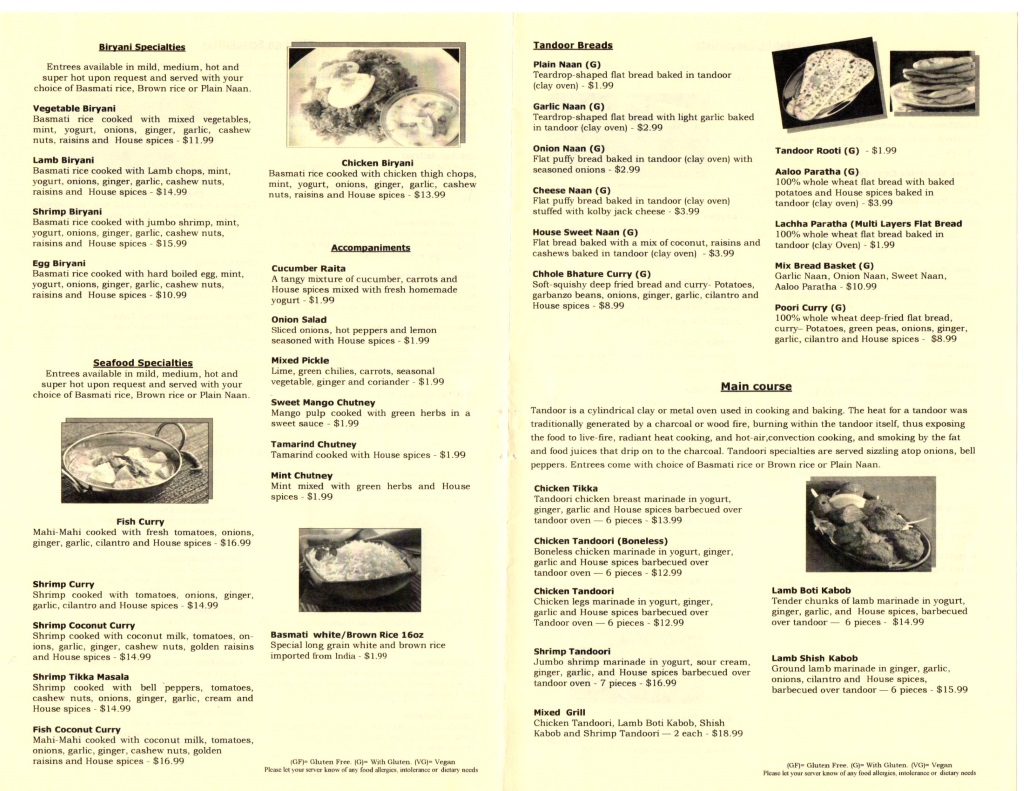 guras spice house menu page three