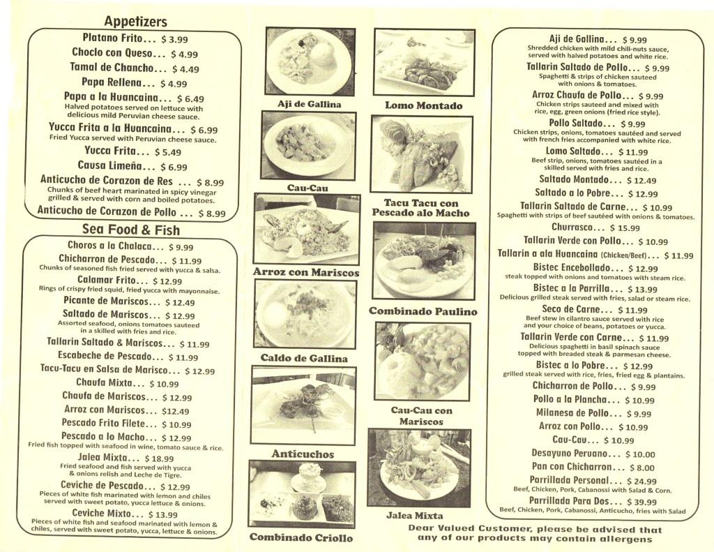 paulinos contigu peru menu one