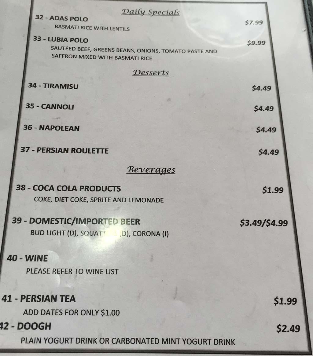Zaferan Cafe menu page five