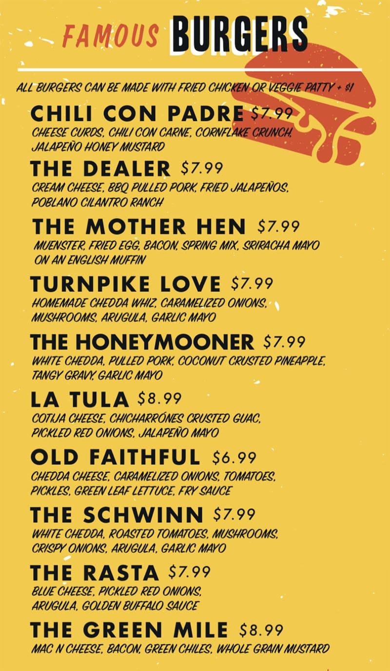 Chedda Burger menu - burgers