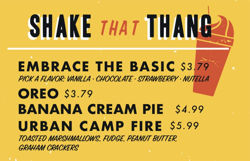 Chedda Burger menu - shakes