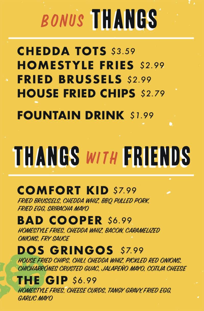 Chedda Burger menu - sides, other items