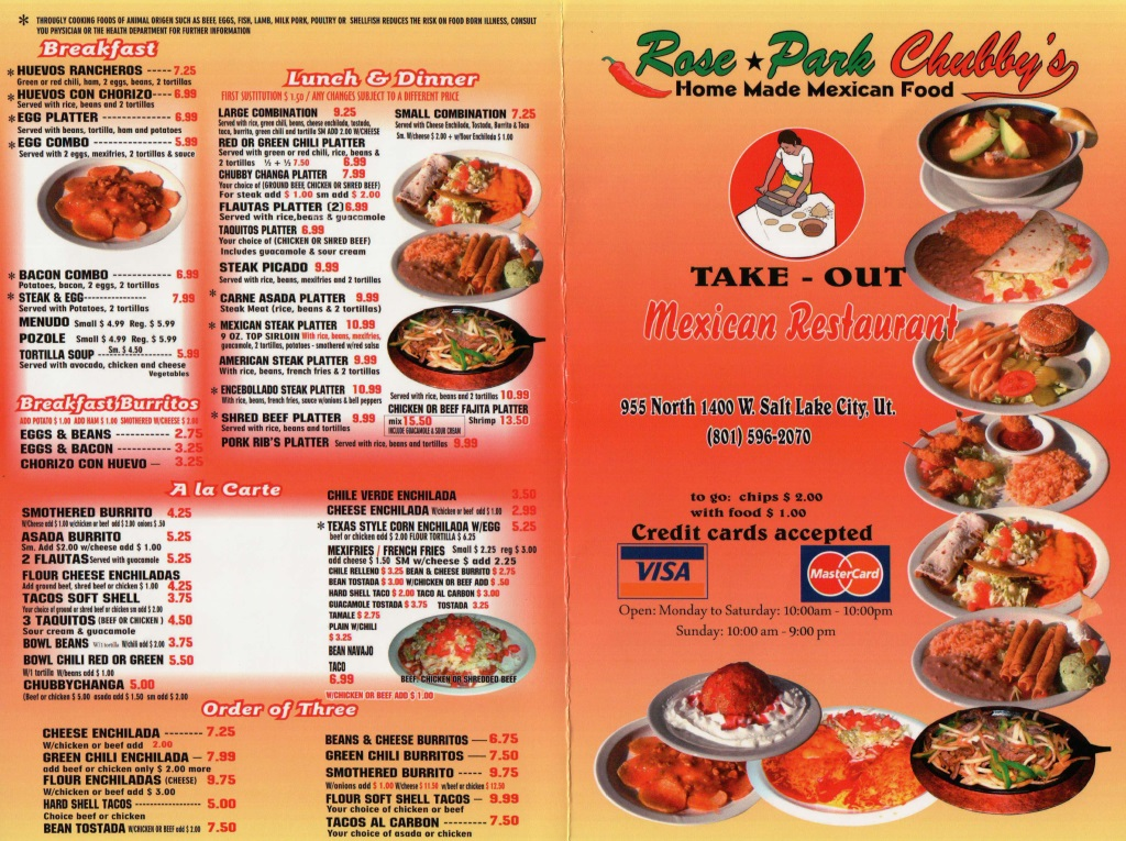chubbys mexican restaurant menu 1