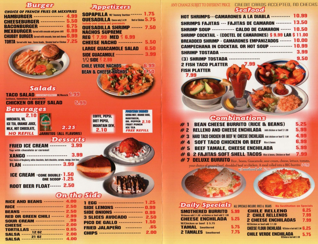 chubbys mexican restaurant menu 2