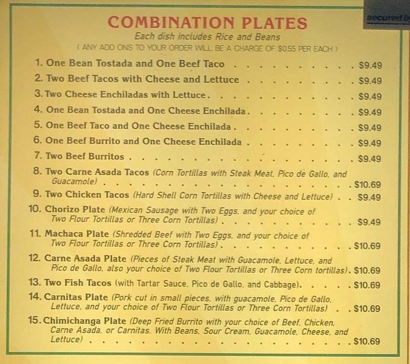 Hector's Mexican Food menu - combination plates