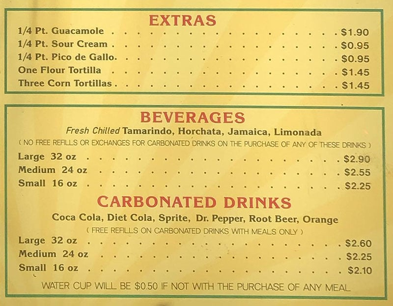 Hector's Mexican Food menu - extras, drinks