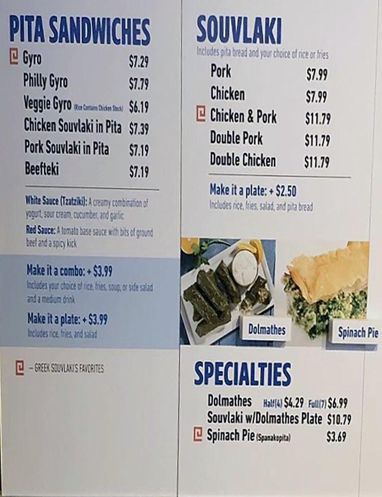 Greek Souvlaki menu - pita sandwiches, gyro, souvlaki
