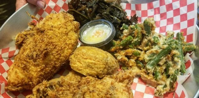 SoCo - fried chicken dinner plate. Credit, Facebook page.