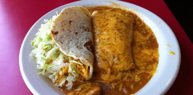 la frontera soft shell taco and smothered burrito