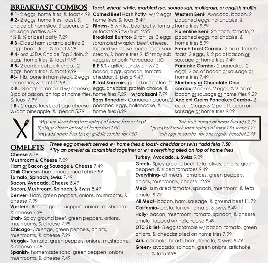 Over The Counter Cafe menu - breakfast combos, omelets