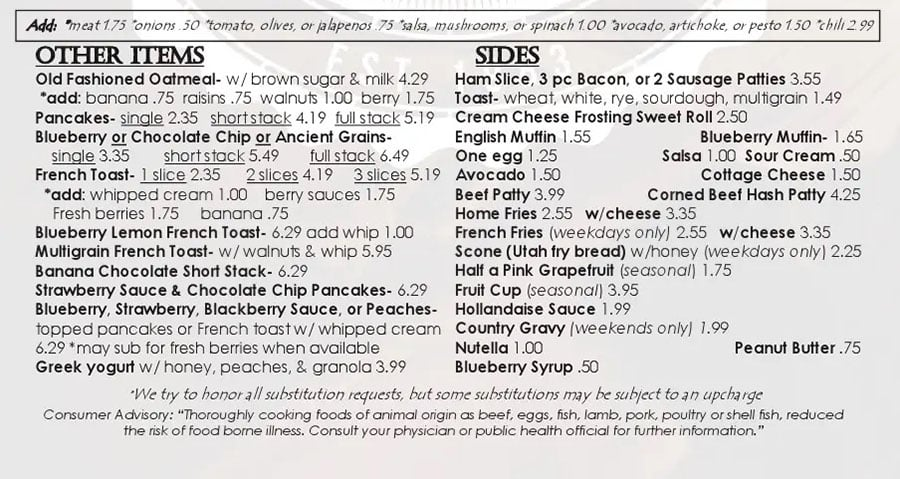 Over The Counter Cafe menu - other breakfast items