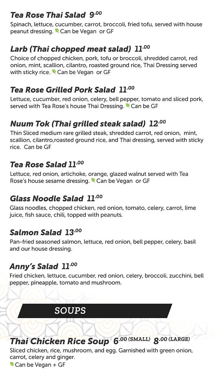 Tea Rose Diner menu - salad, soup