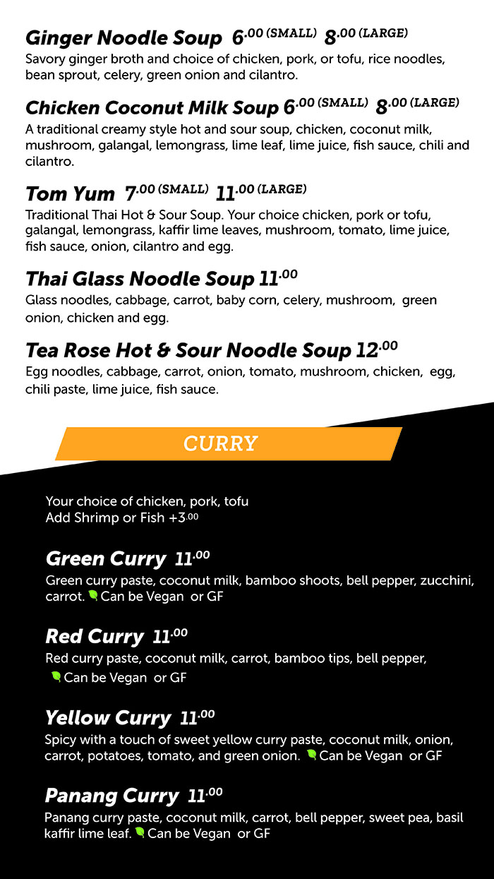 Tea Rose Diner menu - soup, curry