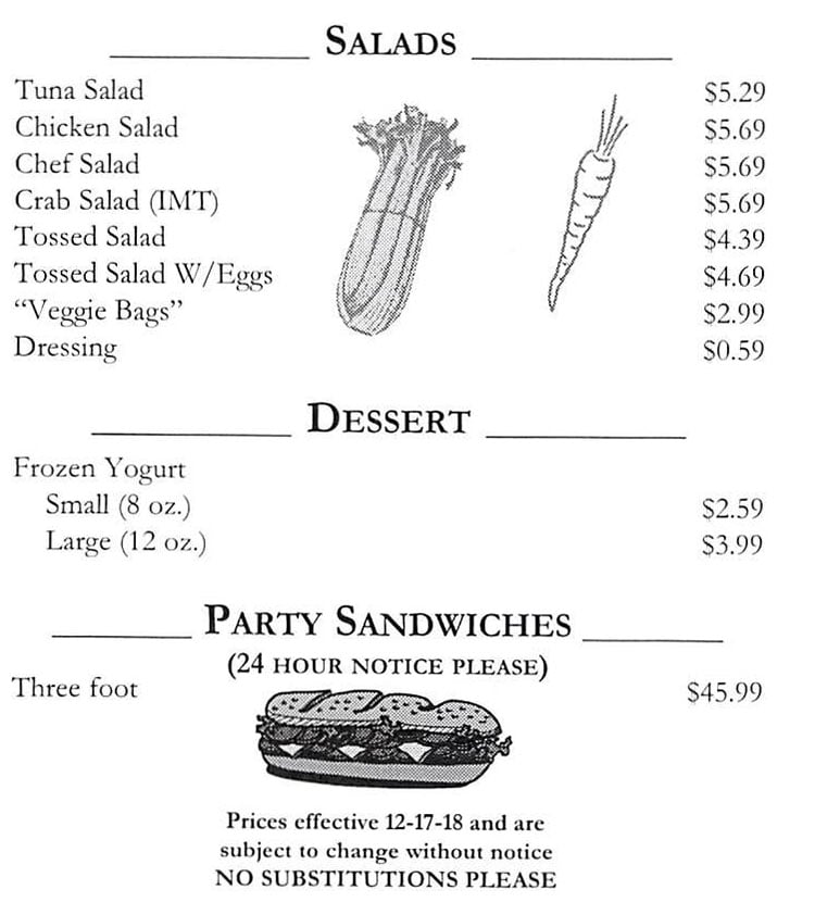 Town And Country Market menu - salads, dessert, party sandwiches