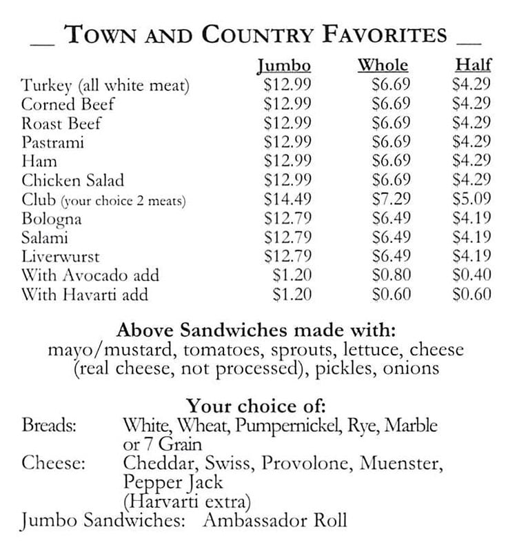 Town And Country Market menu - sandwich favorites