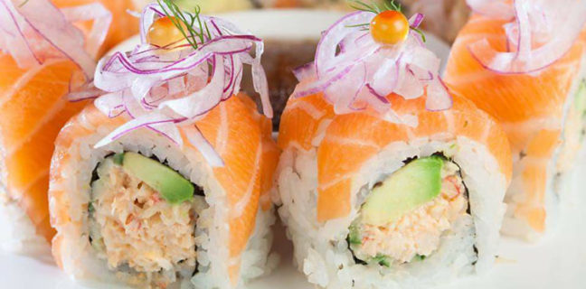 Soy's Sushi - maki rolls with salmon. Credit Soy's
