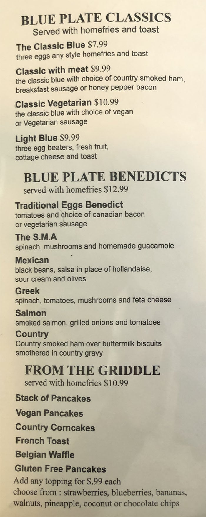 Blue Plate Diner menu - all day breakfast page one