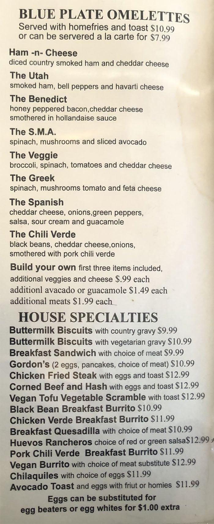 Blue Plate Diner menu - all day breakfast page two