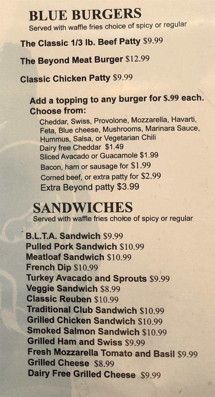 Blue Plate Diner menu - burgers, sandwiches