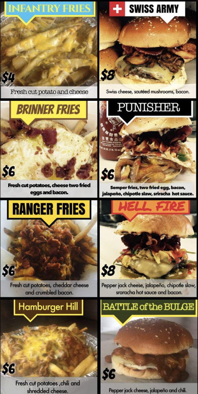 Special Courses food truck menu