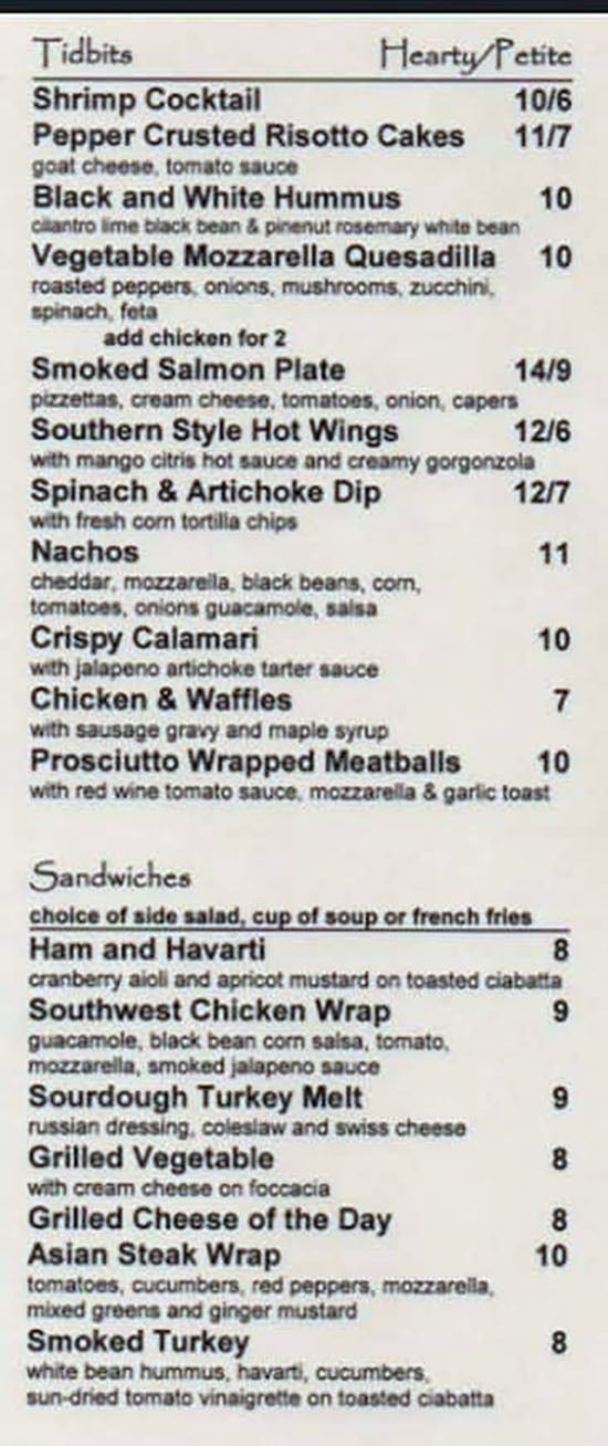 Citris Grill menu - tidbits, sandwiches