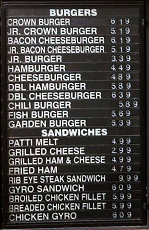Crown Burgers menu - burgers, sandwiches